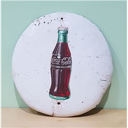 ORIGINAL 1951 WHITE COCA COLA METAL BUTTON SIGN