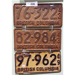 THREE 1940'S BC LICENSE PLATES