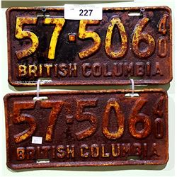 PAIR 1940 BC LICENSE PLATES