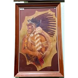 FRAMED J FULLER PAINTING OF NATIVE CHIEF ON DEER HIDE