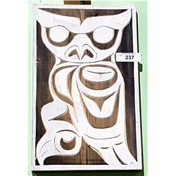 NATIVE CARVED OWL PLAQUE