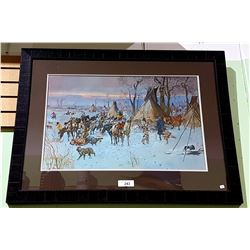 FRAMED CM RUSSELL PRINT, NATIVE CAMP SCENE