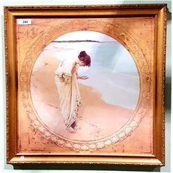 GILT FRAMED PRINT OF A WOMAN AT THE OCEAN
