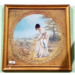 GILT FRAMED PRINT OF A WOMAN PICKING FLOWERS