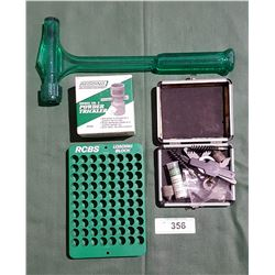 REDDING POWDER TRICKLER MISC BOX OF CASE CLEANING TOOLS RCBS BULLET REMOVER AND RCBS LOADING GLOCK