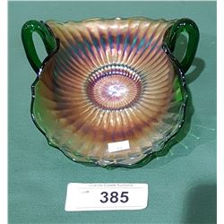 VINTAGE CARNIVAL GLASS DOUBLE HANDLED DISH