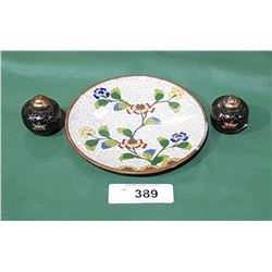 SMALL CLOISONNE PLATE & PAIR OF CLOISONNE S&P SHAKERS