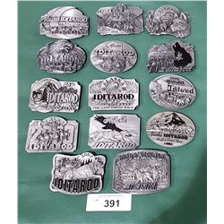 COLLECTION OF 14 LMT ED PEWTER ALASKA IDITAROD BELT BUCKLES