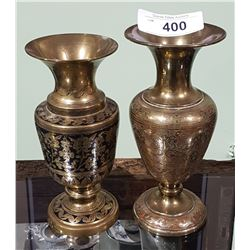 PAIR VINTAGE ETCHED BRASS VASES