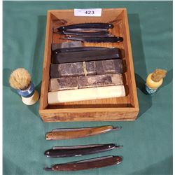 WOOD BOX OF STRAIGHT RAZORS, SHAVING BRUSHES AND SHARPENING BLOCK