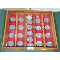 COMPLETE COLLECTION OF OFFICIAL MONTANA CENTENNIAL PEWTER BELT BUCKLES IN DISPLAY CASE