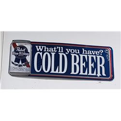 ORIGINAL PABST COLD BEER EMBOSSED TIN SIGN