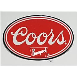 ORIGINAL COORS BANQUET EMBOSSED TIN BEER SIGN