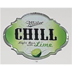 ORIGINAL MILLER CHILL EMBOSSED TIN BEER SIGN