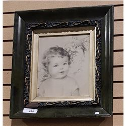 VINTAGE ORNATELEY FRAMED PRINT OF A TODDLER