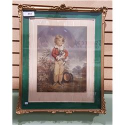 GILT FRAMED PRINT OF YOUNG BOY WITH A DOG