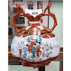 ASIAN HAND PAINTED DOUBLE HANDLED VASE