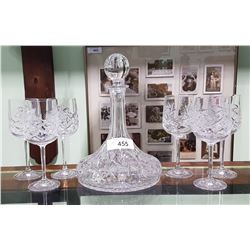 7 PC PINWHEEL CRYSTAL SHIP'S DECANTER SET