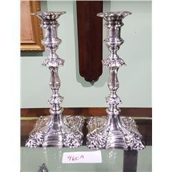 ANTIQUE ORNATE SILVERPLATE CANDLESTICKS