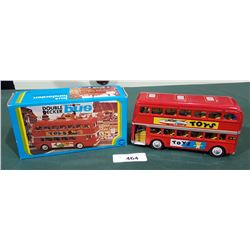VINTAGE TIN DOUBLE DECKER FRICTION BUS