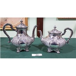 1941 REED AND BARTON ORNATE SILVER PLATE COFFEE AND TEAPOT