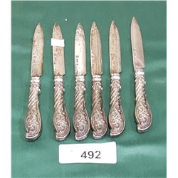 SET OF 6 STERLING SILVER KNIVES
