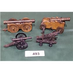 4 BRASS AND WOOD CANNONS