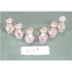 6 WALLACE STIRLING SILVER INDIVIDUAL SALT & PEPPER SHAKERS