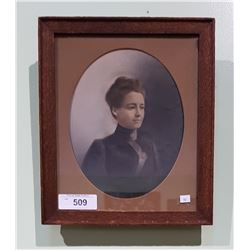 ANTIQUE FRAMED HAND COLOURED PHOTOGRAPH