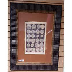 FRAMED PRINT OF THE MEDALS OF K.WILLIAM THE THIRD AND Q.MARY