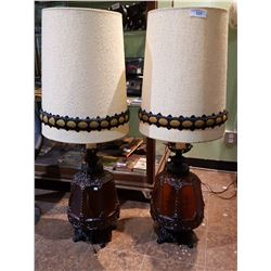 PAIR OF LARGE VINTAGE MID CENTURY MODERN AMBER GLASS TABLE LAMPS