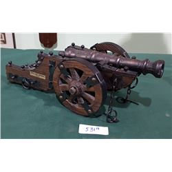 LARGE BRASS AND WOOD CANNON