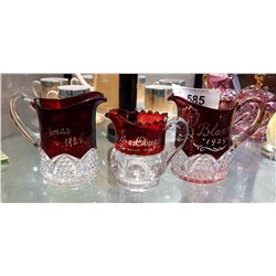 3 ANTIQUE RUBY FLASH GLASS PITCHERS