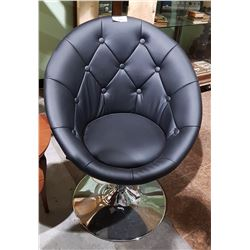 NEAR MINT BLACK LEATHER SWIVEL TILT CHAIR