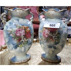 PAIR OF VICTORIAN PORCELAIN DOUBLE HANDLED VASES