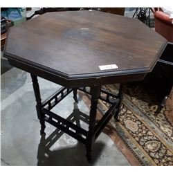 ANTIQUE MAHOGANY OCTAGONAL OCCASIONAL TABLE