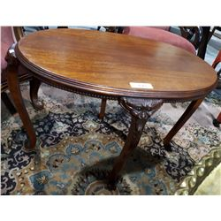 VICTORIAN MAHOGANY OCCASIONAL TABLE W/CARVED FIGURAL LEGS