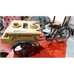 SMALL WOOD AND STEEL BICYCLE ICE CREAM CART