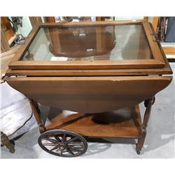 VINTAGE WALNUT TEACART WITH SERVING TRAY