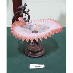 VICTORIAN HAND PAINTED SATIN GLASS BOWL ON BRASS STAND