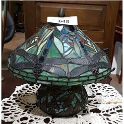 TIFFANY STYLE DRAGONFLY STAIN GLASS TABLE LAMP