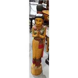 VINTAGE CARVED WOOD STATUE OF POLYNESIAN LADY