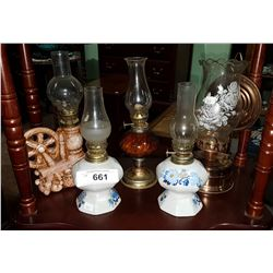 FIVE VINTAGE SMALL OIL LAMPS