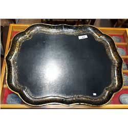 LARGE VICTORIAN HAND PAINTED WOOD SERVING TRAY