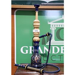 HAND PAINTED GLASS AND WOOD HOOKAH PIPE