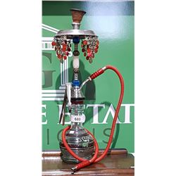 HAND PAINTED GLASS AND METAL HOOKAH PIPE