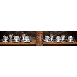 22 PCS OF STERLING SILVER CUPS AND SAUCERS