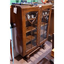 ANTIQUE OAK DISPLAY CABINET W/CARVED DETAILS