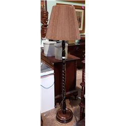 MAHOGANY BARLEY TWIST TABLE LAMP