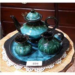 VINTAGE 4 PC BLUE MOUNTAIN POTTERY TEA SET